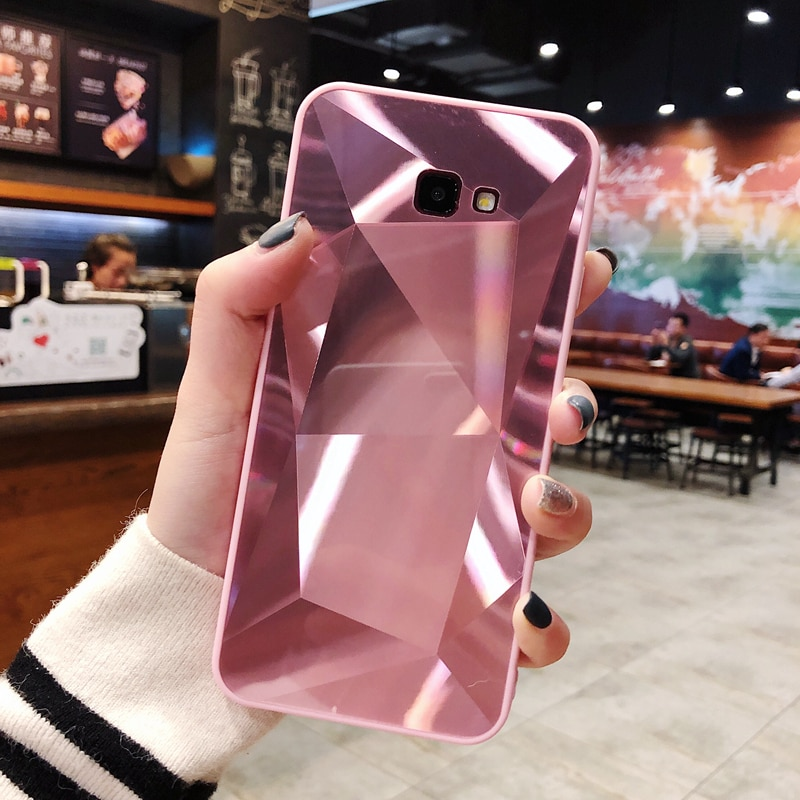 Mode 3D Bling Diamant Telefon Fall Für Samsung Galaxy J8 J6 Plus J4 2018 J2 Prime J3 J5 2016 J7 2017 spiegel Zurück Abdeckung A50 A70