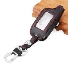 Auto Zubehör, schwarz Leder Auto-Styling Schlüssel Abdeckung Fall Für Starline B9 B6 A91 A61 Twage Zwei Weg Auto Alarm System keychain