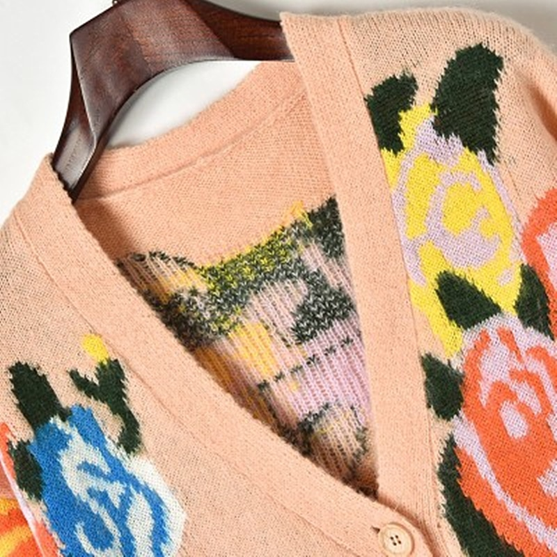 2018 Autumn And Winter New MohairJacquard Sweater flower Sweater Coat Female Hit Color Cardigan Loose Type enlarge