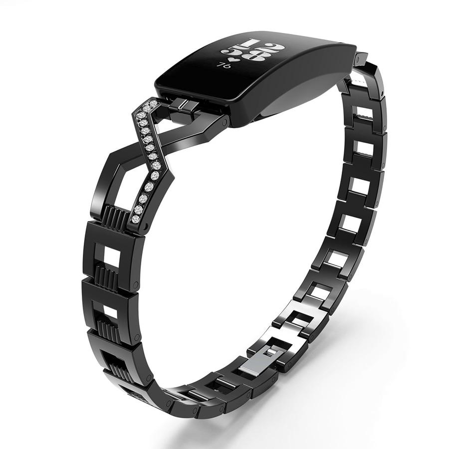 Reloj inteligente correa para Fitbit inspirar/Inspire Hr accesorios Cruz cadena de Metal de acero inoxidable pulsera banda