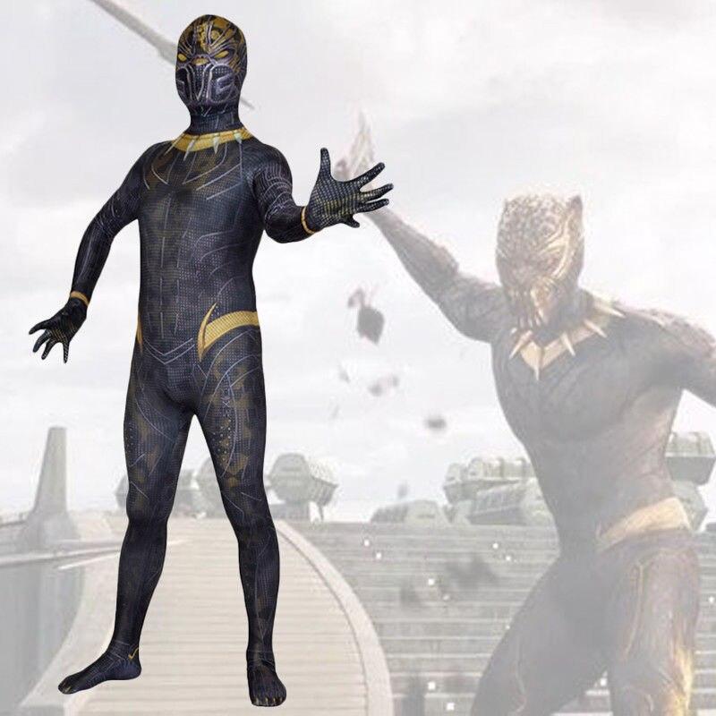 Black Erik Killmonger Superhero Cosplay Bodysuit Spandex Lycra Zentai costume Halloween Party suit with Mask
