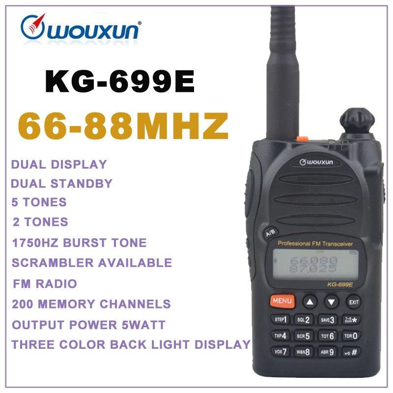 Walkie talkie portátil de 66-88MHz WOUXUN KG-699E, modo de espera Dual con pantalla Dual, Radio bidireccional, transceptor