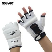 GOBYGO Half Finger Boxing Gloves PU Leather MMA Fighting Kick Boxing Gloves Karate Muay Thai Training Workout Gloves Kids Men