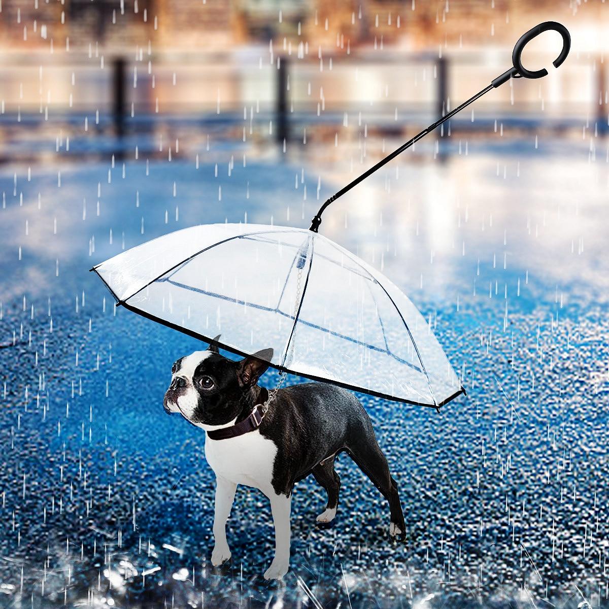 Paraguas para mascotas transparente con mango telescópico en forma de C, collares con correas para perros, cuerda de remolque para la lluvia, cuerda para perros y gatos pequeños