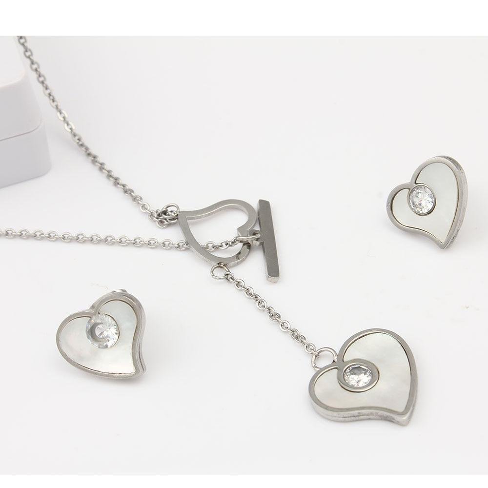 XUANHUA Simple Love Stainless Steel Jewelry Set For Women Love Pendant Necklace Fashion Jewelry Set Accessories Conjunto De Joya