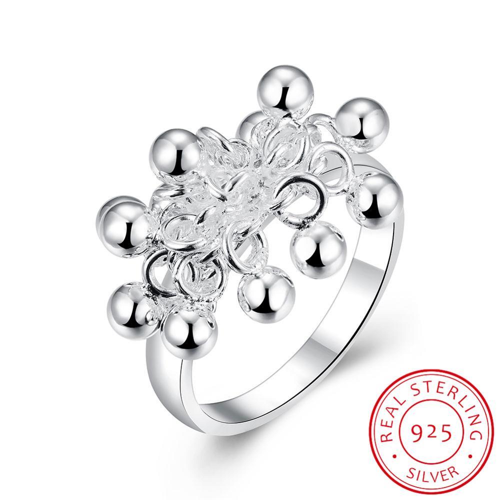 100% 925 sólido prata esterlina superfície lisa contas cocktail anel tamanho 6 7 8 9 10 feminino meninas crianças presente de natal