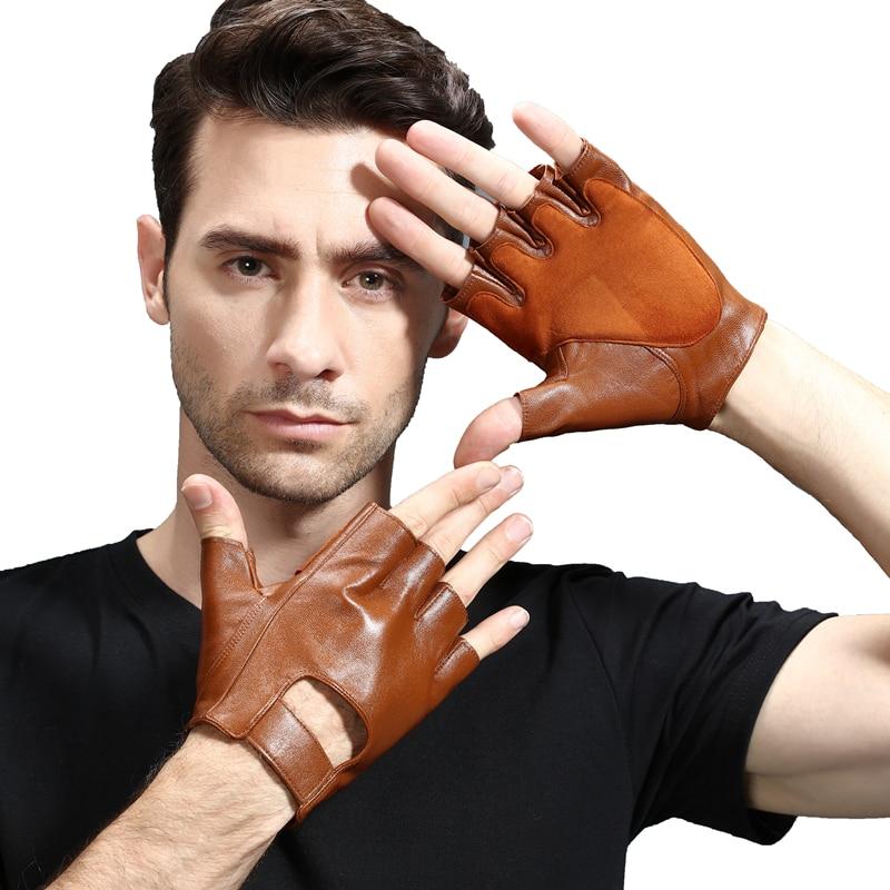 Фитнес перчатки без пальцев мужской вождения летние тонкие износостойкие мотоциклетные кожаные перчатки мужские с полуоткрытыми пальцами...