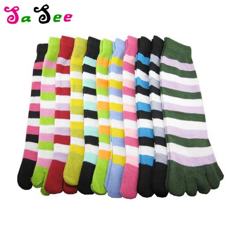 Moda listrado bonito cinco dedo do pé meias harajuku meias de algodão hipster streetwear kawaii tornozelo engraçado meias femininas meias
