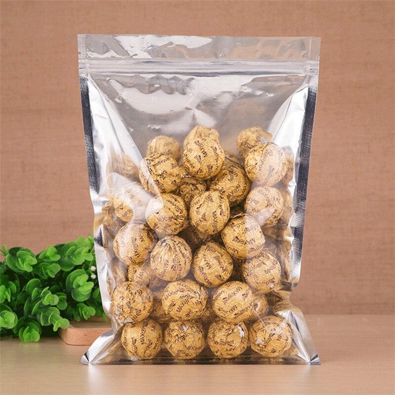 100 uds/1 lote de bolsas de papel de aluminio 13*7cm-18*26cm para frutos secos, dulces, té y aperitivos papel de aluminio embalaje de cocina y bolsa autosellante