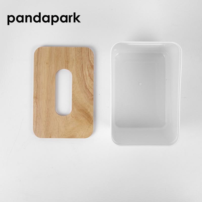 Modern Simple Plastic Tissue Box Dispenser With Oak Wooden Cover Paper Car Napkin Holder Case Home Organizer Decoration PPM020