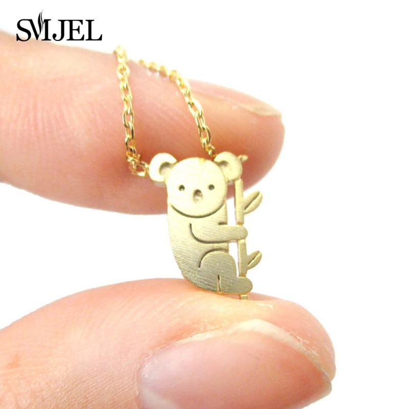 SMJEL Cute Teddy Koala Bear Necklace Aussie Woodland Koala on Tree Branch Necklace Australian Panda Costume Jewelry Gifts N136