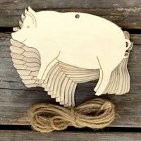 50pcs laser cut wood animal shape pig wood toy wood hanging ornament