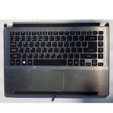 GZEELE nouveau pour Acer Aspire V5-472 V5-473 Palmrest & clavier Topcase housse supérieure KB lunette gris couverture supérieure touches noires