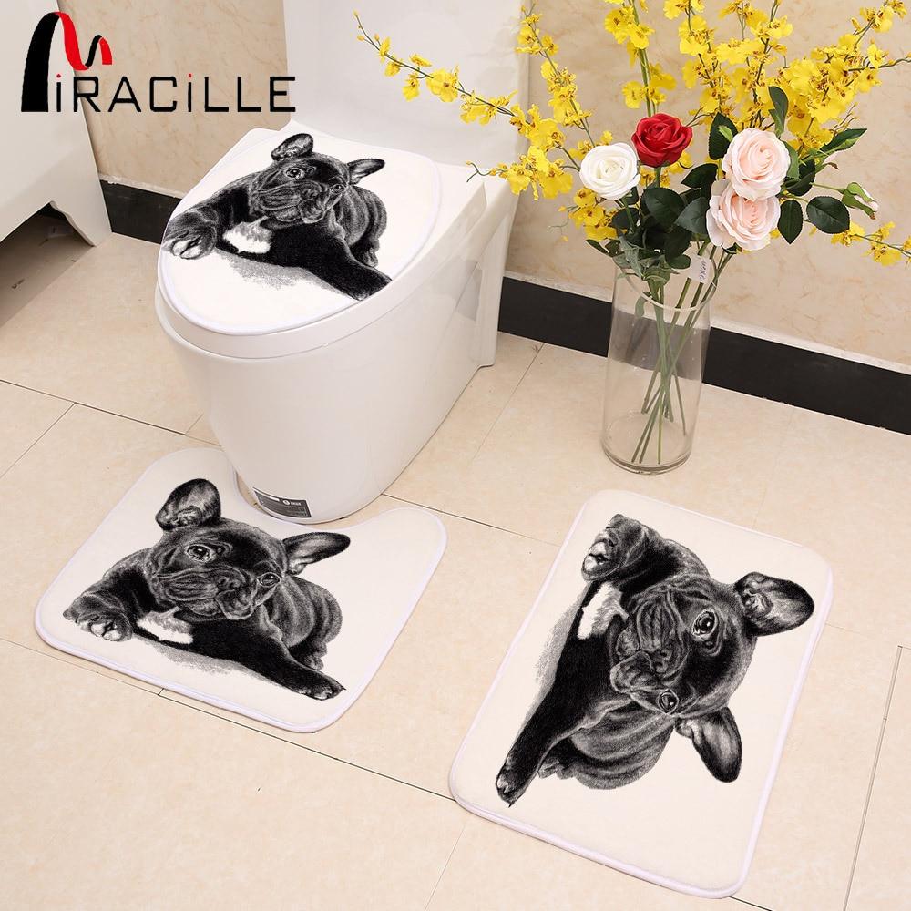 Miracille Cute Black French Bulldog Print 3pcs/Set Toilet Seat Cover Bathroom Indoor Non-Slip Coral Fleece Floor Mat Bath Decor