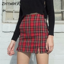ZHYMIHRET Spring Summer High Waist Red Plaid Mini Skirts Womens Side Split Pencil Skirt Back Zipper Sexy Streetwear Jupe Femme