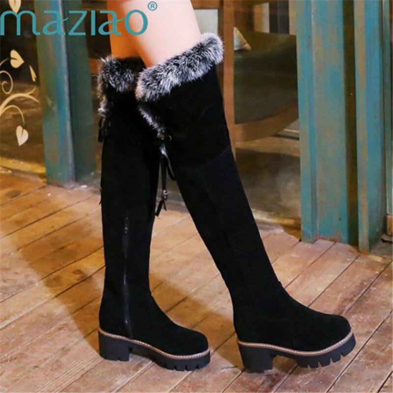 Botas de nieve para mujer, botas por encima de la rodilla, zapatos de invierno con plataforma, zapatos de peluche cálidos, botas altas de punta redonda Botas Largas con cordones, MAZIAO