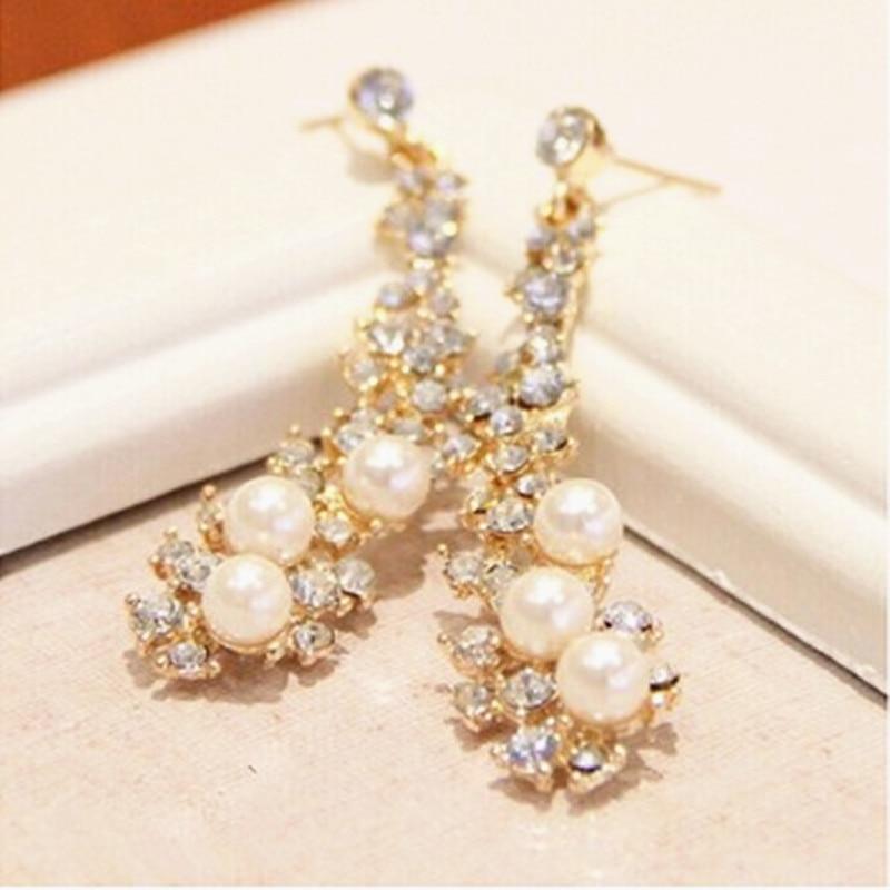 2020 Fashion Luxury Bride Imitation Pearl Long Earrings Elegant Crystal Earrings For Women Wedding Party Jewerly Wholesale