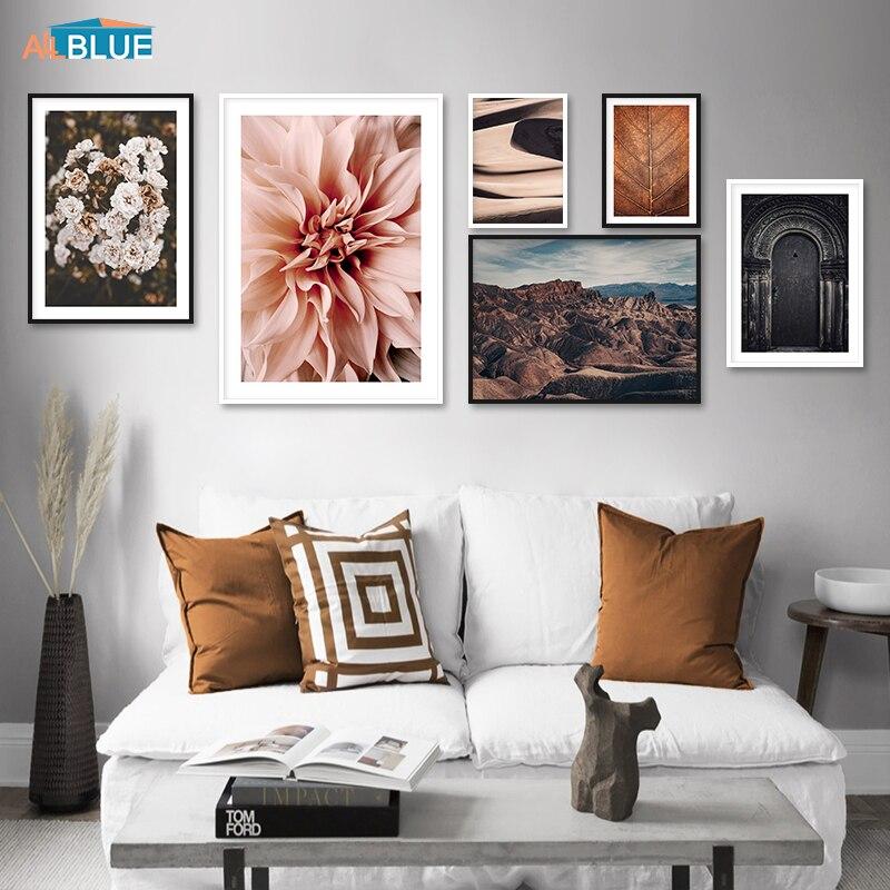 Flor Marrom Deixa Porta Poster Canvas Paisagem Wall Art Posters E Impressão Deserto Imagem Decorativa Para Sala de estar Decoração de Casa
