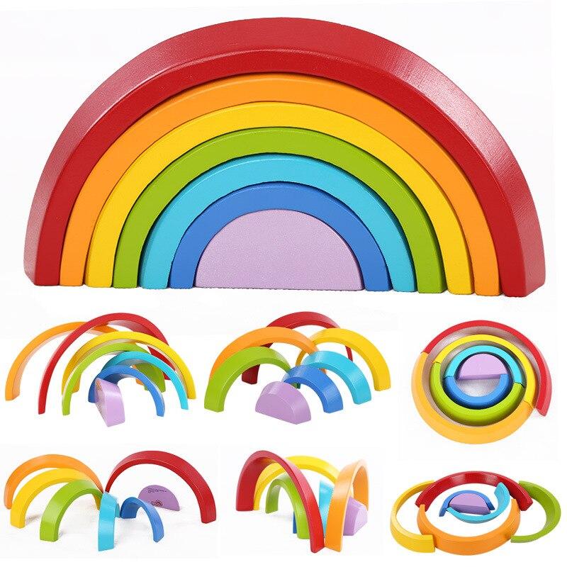 7 unids/set de bloques de madera arco iris para niños, bloques de construcción, juguetes de madera para bebés, Aprendizaje Temprano Montessori educativo