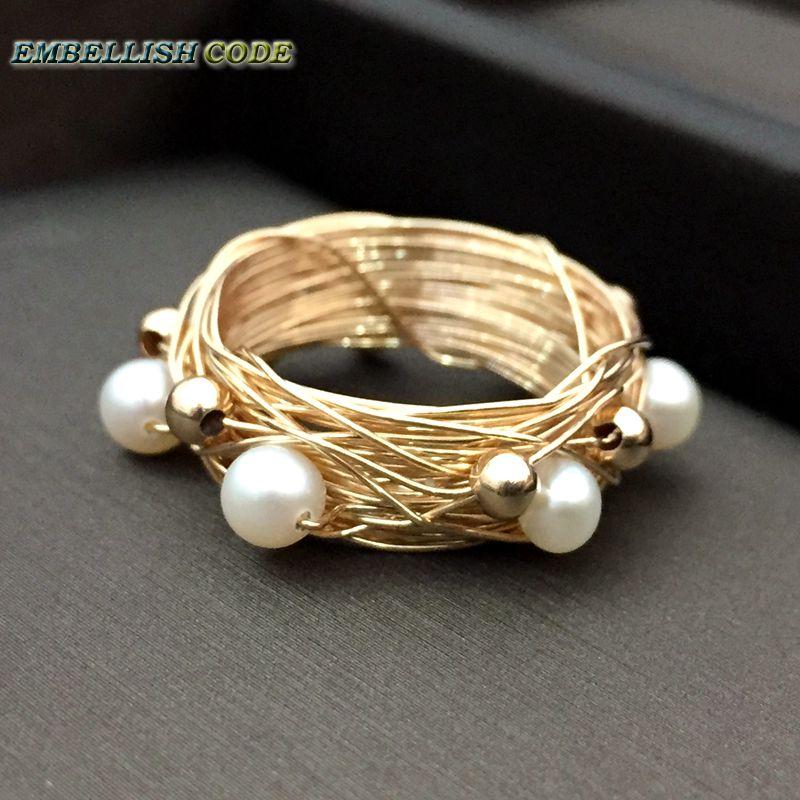 Кольцо золотого цвета с 6 круглыми жемчужинами, Золотое кольцо ручной работы