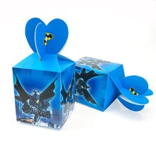 12pcs Batman Cartoon Candy Bag Kids Birthday Party Decoration Paper Gift Boxes Baby Shower Supplies 8.5x8.5x10cm Party Favors