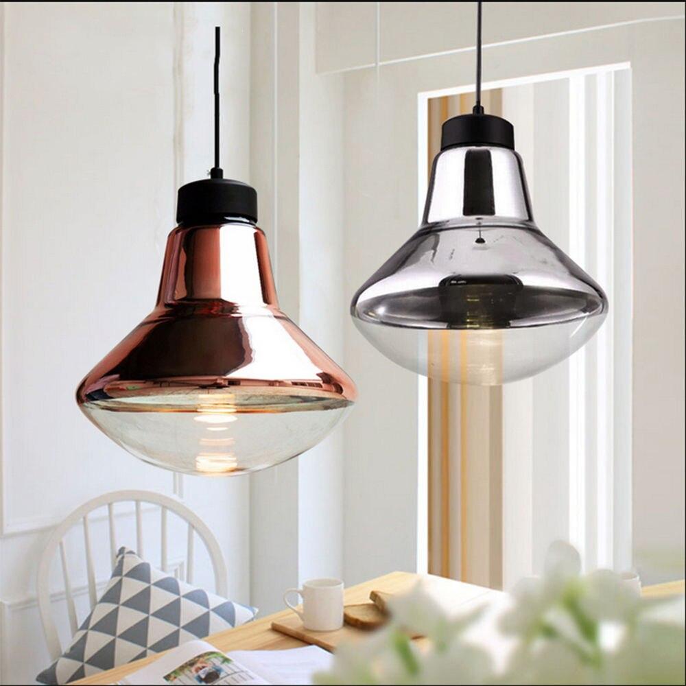 Nordic Modern  E27 LED Fixture Ceiling Light Bronze Chrome Glass Pendant Lamp Droplight Home Corridor Store Loft Decor