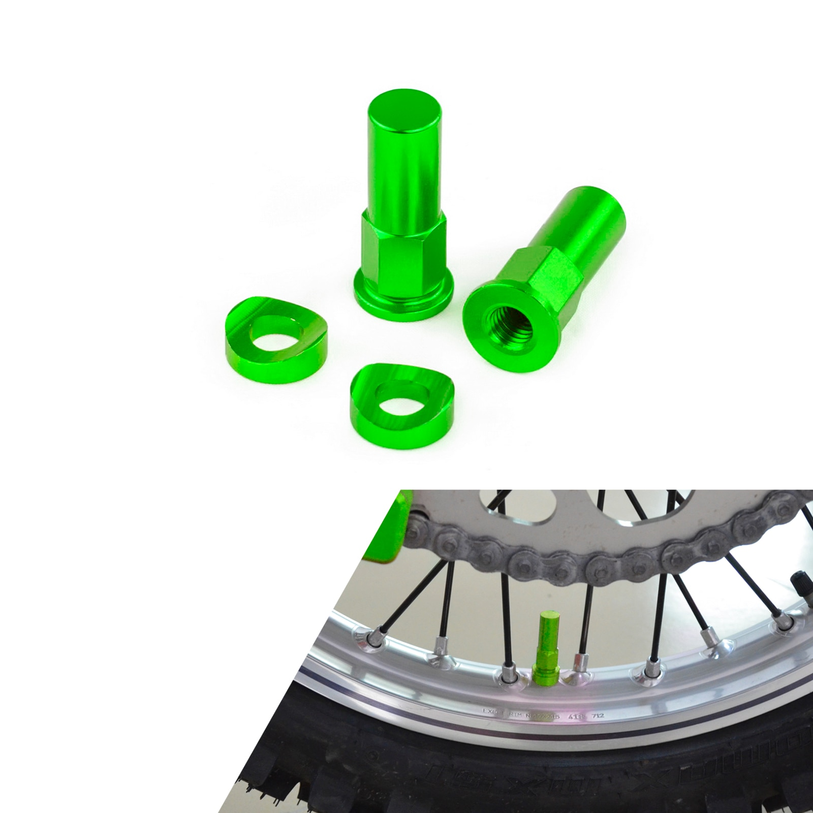 New Motocross Dirt Bike Rim Lock Nut Spacer Kit For CR YZ KX RM CRF YZF KXF RMZ 85 125 250 450