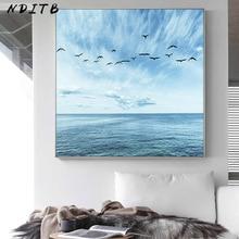 Imagen de cielo azul Mar Océano arte de pared póster escandinavo Impresión de estilo nórdico minimalista pintura en lienzo de paisaje decoración moderna del hogar