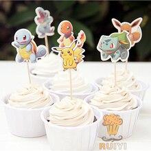 96 Pcs Cartoon Anime Pokemon Gaan Pikachu Candy Bar Cupcake Toppers Pick Fruit Picks Baby Shower Kids Verjaardagsfeestje Supplies