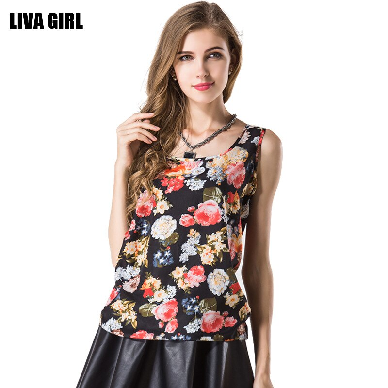 LIVA Shirt Women Summer Chiffon Tops Floral Print Sleeveless Blouses For Clothes Ruffle Elegant Vintage Feminine Shirts