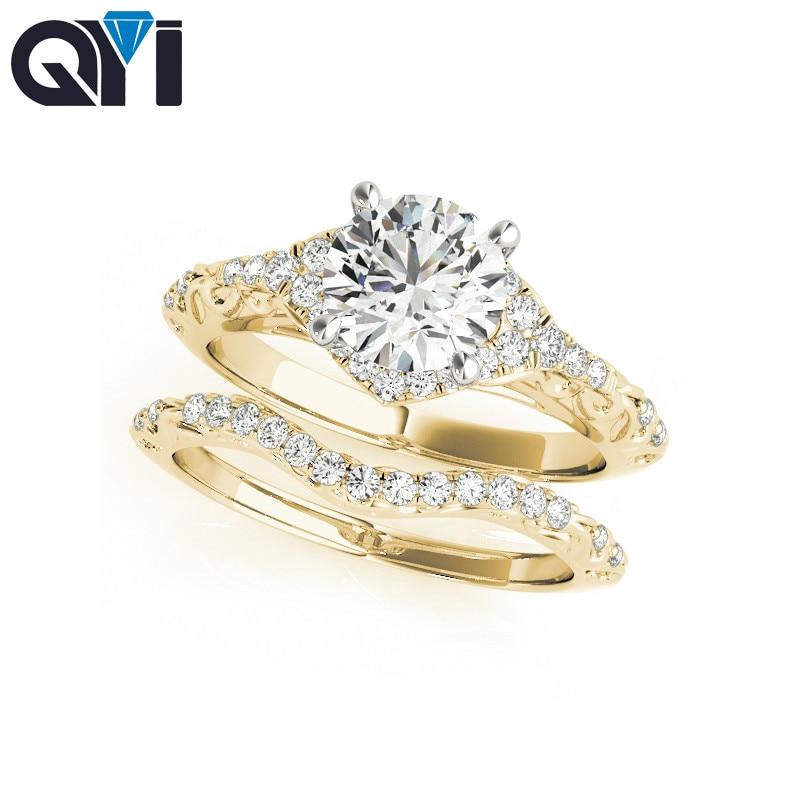 QYI-خاتم من الذهب الأصفر عيار 14 قيراط مرصع بالألماس المقلد للنساء ، خاتم خطوبة ، 14 قيراط ، قطع دائري ، 1 قيراط