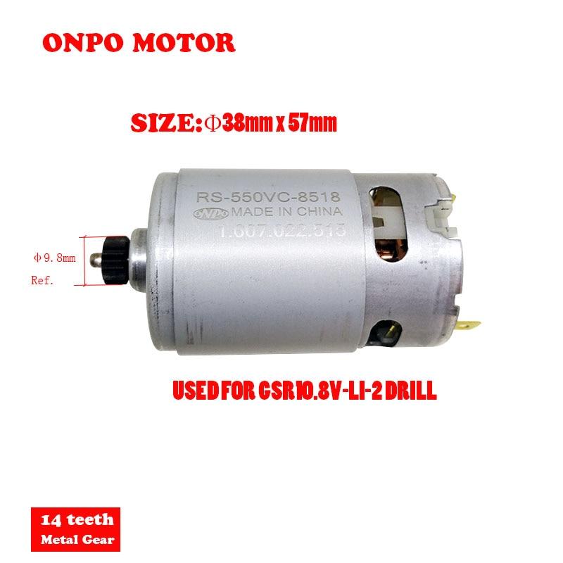 ONPO motor RS-550VC-8518 11-diş motor bakım Bosch GSR10.8V-LI-2 3601H680H0 şarj matkap