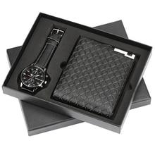 Hommes montres de luxe minimaliste Quartz montre-bracelet portefeuille porte-cartes montres hommes coffret cadeau montre pour papa mari garçon ami