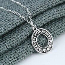 CHENGXUN Phasen der Mond Anhänger Halskette Frauen Einfache Kreis Hohl Schmuck Gold Astrologie Zubehör Geschenke,