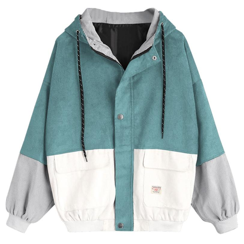 Новинка, осенние женские пальто, вельветовые лоскутные куртки большого размера на молнии, ветровка, пальто и куртки, Женская бейсбольная фо...