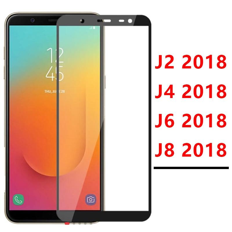 Funda completa para Samsung J4 J2 J6 J8 2018, Protector de pantalla de vidrio templado, película protectora para Galaxy J 2 4 6 8 2j 4j 6j 8j 9h