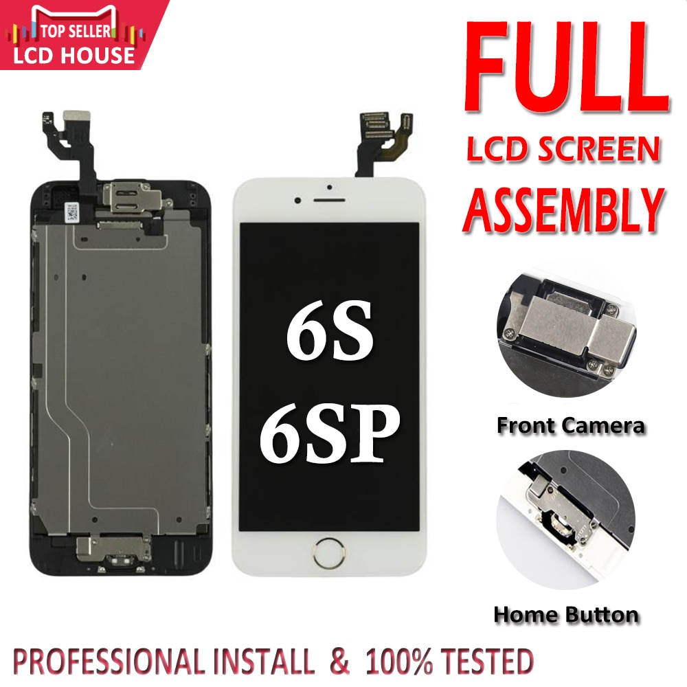 Черный белый дисплей для iPhone 6S Plus 6SP полный комплект ЖК-экран Pantalla сборка 3D сенсорный дигитайзер Замена + фронтальная камера