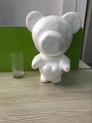 1 шт., модель медвежонка из пенопласта в форме сердца, 35 см, пенопластовый плюшевый мишка из пенопласта, белые шары для поделок, рождественски...