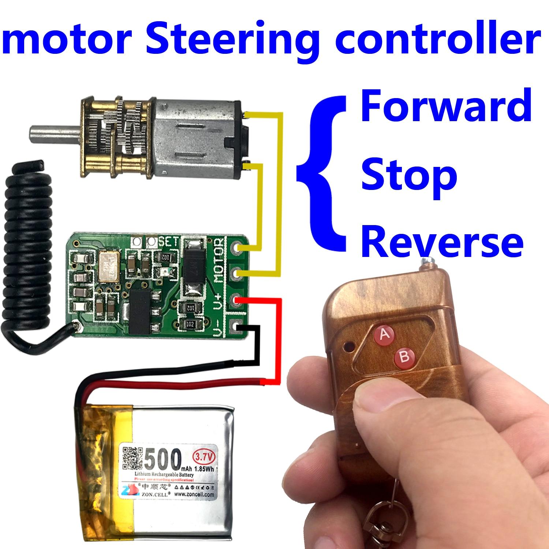 Interruptor de control remoto inalámbrico 433 mhz Transmisor rf receptor 3,7 v 5 v 9 v 12 v motor adelante + módulo de controlador de dirección inversa