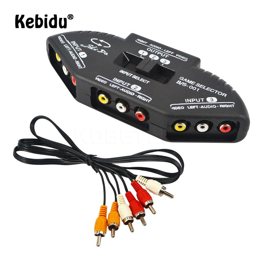 Kebidu de Audio Video AV interruptor RCA divisor Selector 3 a 1 compuesto RCA Cable AV para STB TV reproductor de DVD para XBOX PS2
