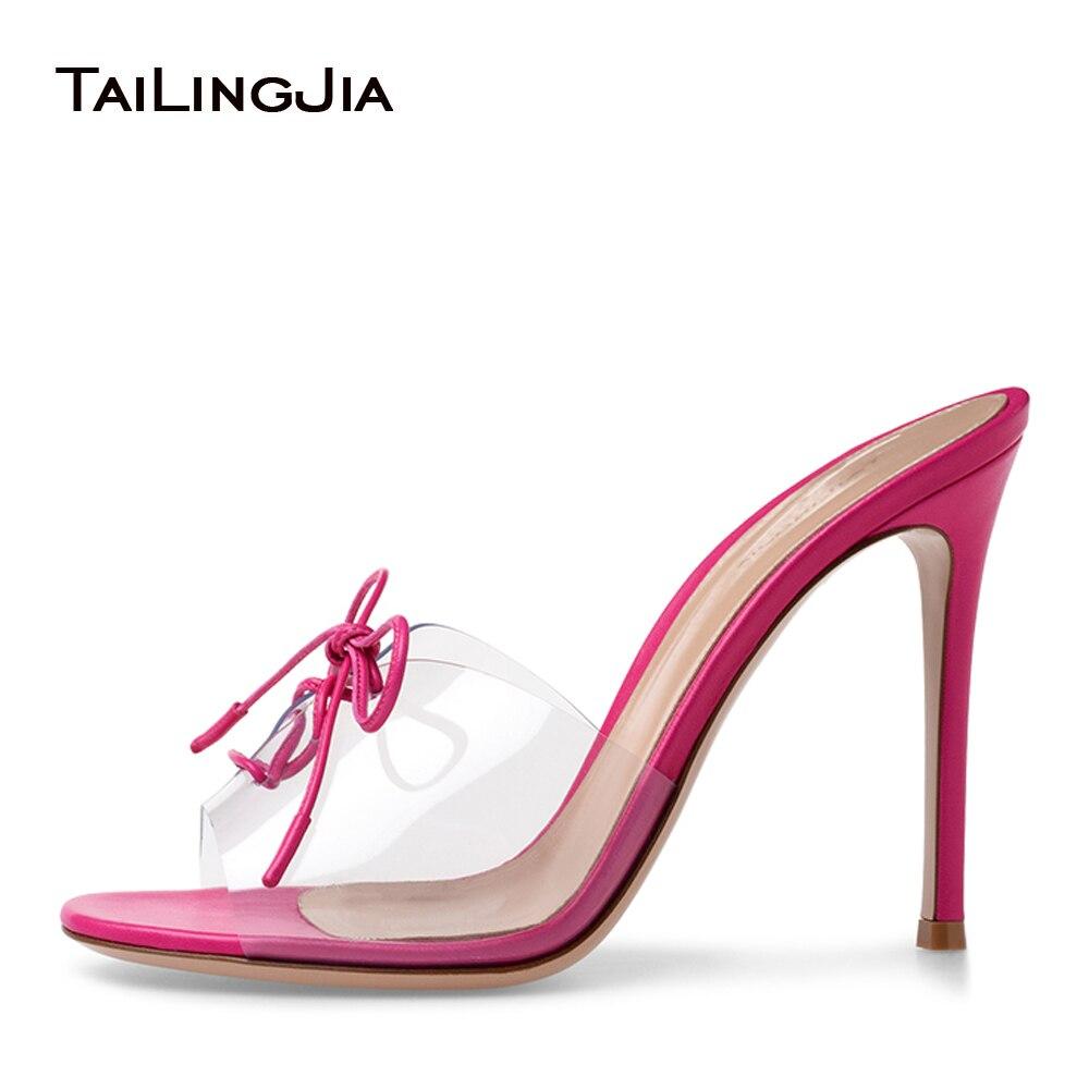 PVC High Heel Sandalen Peep Toe Lace up Transparent Maultiere Sexy Kleid Heels 2018 Stiletto Ferse Sommer Frauen Schuhe Großhandel