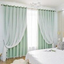 Chicity tende Per Il salone del merletto di Doppio strato elegante Verde blackout tenda per la camera da letto Finestra di formato personalizzato ready made