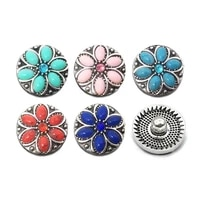 wholesale metal rhinestone snap buttons w169 flowers diy jewelry fit 18mm snap button necklacesbracelets for women