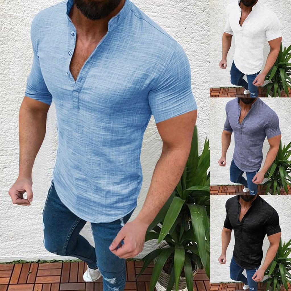 Verão plus tamanho masculino causal sólido algodão linho solto topos manga curta camisa t chemise homme streetwear havaiano camisa S-5XL