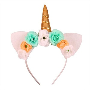Fashion Kids Animal Horned Headband Chiffon Flowers Leaf DIY Hair Accessories Rainbow Color Easter Bonus for Party Gifts