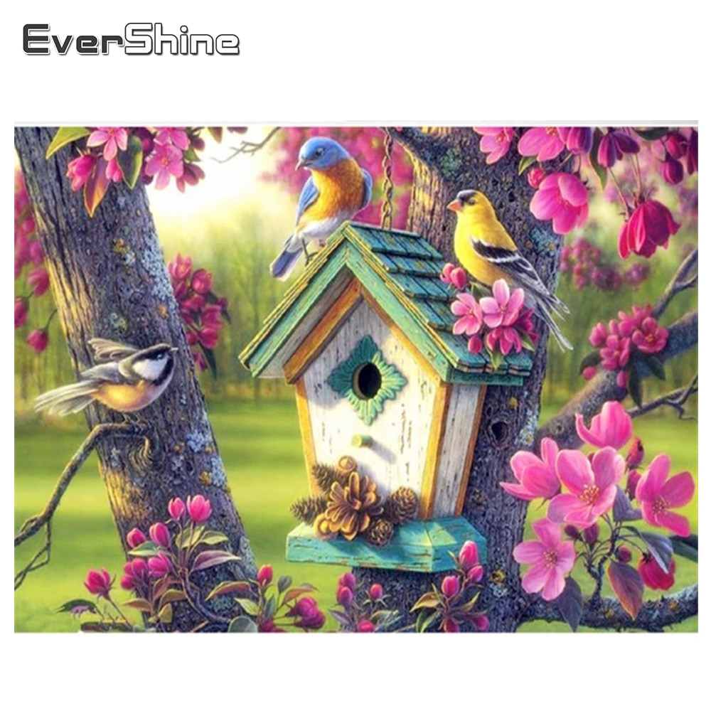 EverShine pintura de diamantes pájaros punto de cruz patrón Animal DIY bordado de diamantes mosaico de diamantes de resina decoración del hogar