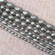 Perles de forme ovale en Pyrite naturelle, pour la fabrication de bijoux à bricoler soi-même! Nous fournissons en gros mixte pour tous les articles!