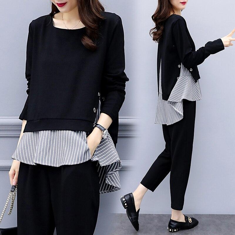 Plus Size XL-5XL Two Piece Sets Womens Outfits Black Elegance Korean Stitching Stripe Lady Office Wear Pants Suit Clothes