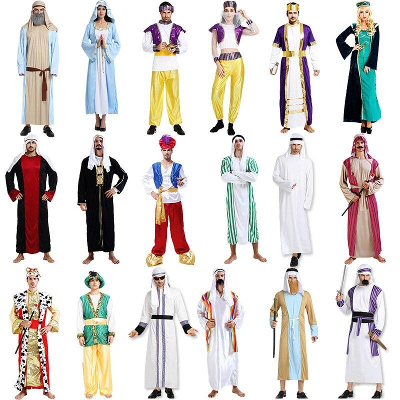 Halloween cosplay árabe aladdin índia príncipe árabe princesa rei traje médio oriente pastor robe carnaval fantasia dos homens