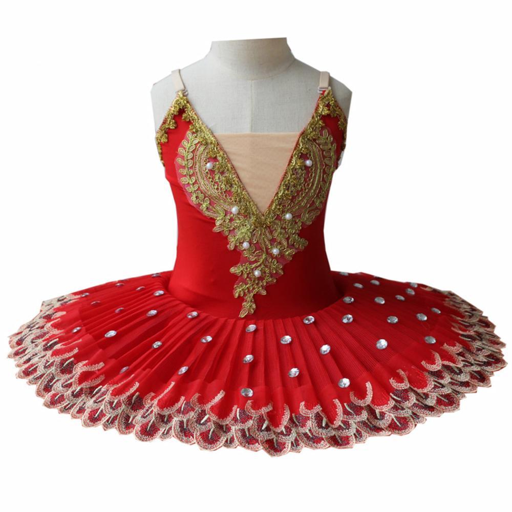 Vestido de Ballet profesional para niñas, tutú infantil, traje de Lago Cisne, vestido de Ballet rojo para niños, tutú de panqueque, Ropa de baile para niñas